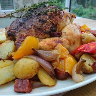 roast chicken and chorizo vegetables