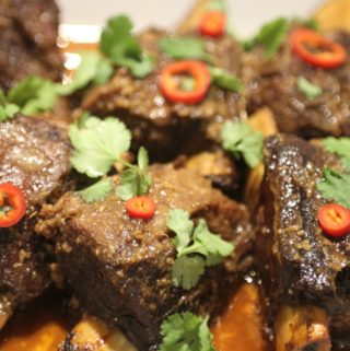 Slow-cooked, soy glazed short ribs