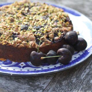 Cherry, pistachio and coconut tart