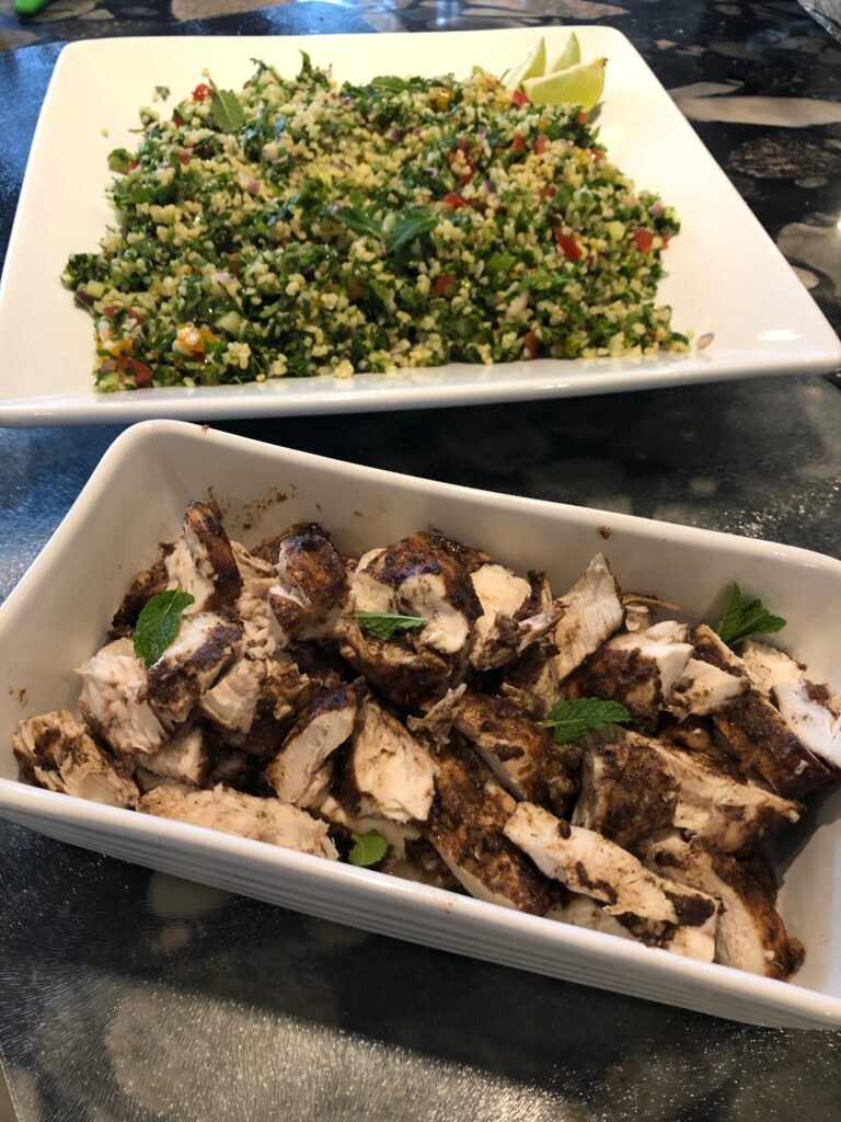 Shawarma spiced chicken and tabbouleh