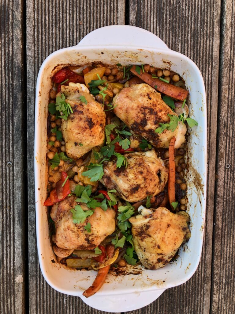 Moroccan-style tray-baked chicken